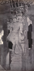 Ramisseram [Rameswaram] Pagoda, Island of Paumben. Carved pillar in centre corridor 212328